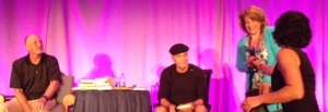 Hay House Publishing: Reid Tracy, President and CEO; Dr. Wayne Dyer, Featured Author; Nancy Levin, Featured Author. Wayne asked me to tell the audience what happened the previous day.